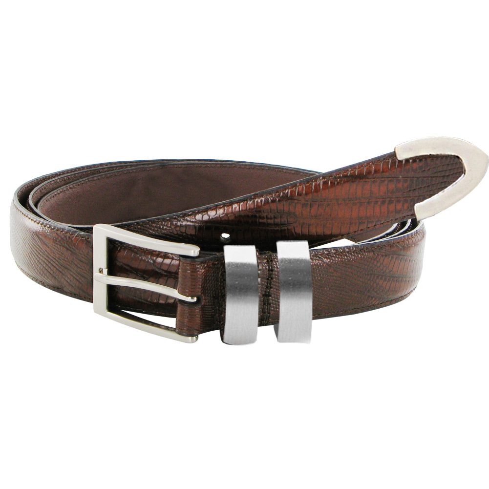 Italian Brown Lizard Texture Leather Belt w/ Silver Accents (Size 54/56)