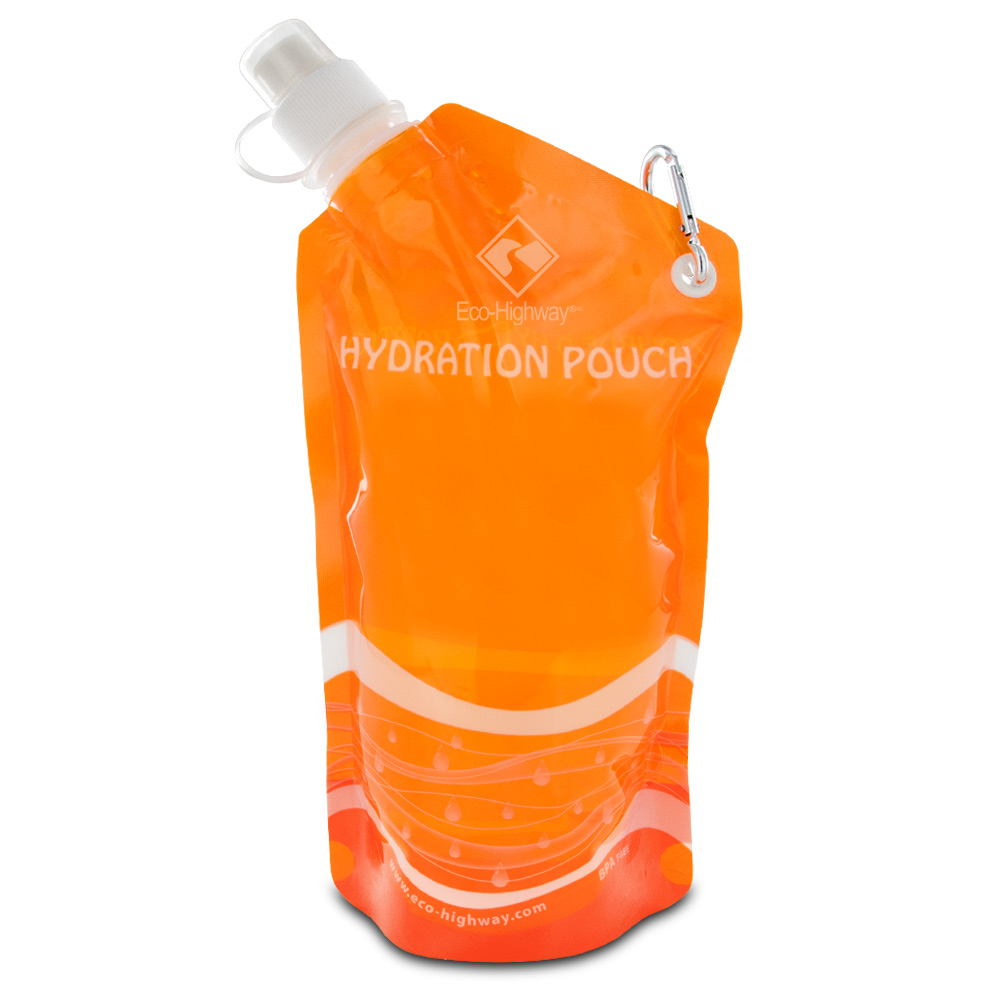 Eco-Highway Hydration Pouch: Collapsible, Reusable 20oz Water Bottle (Orange)