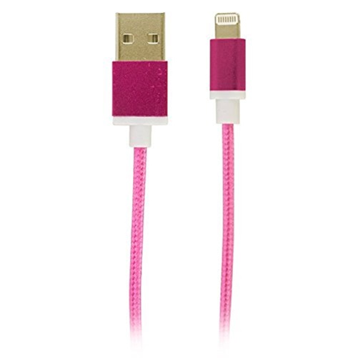 Reviver Mobile 3ft USB to Lightning Fabric Charge and Sync Braided Cable, Pink